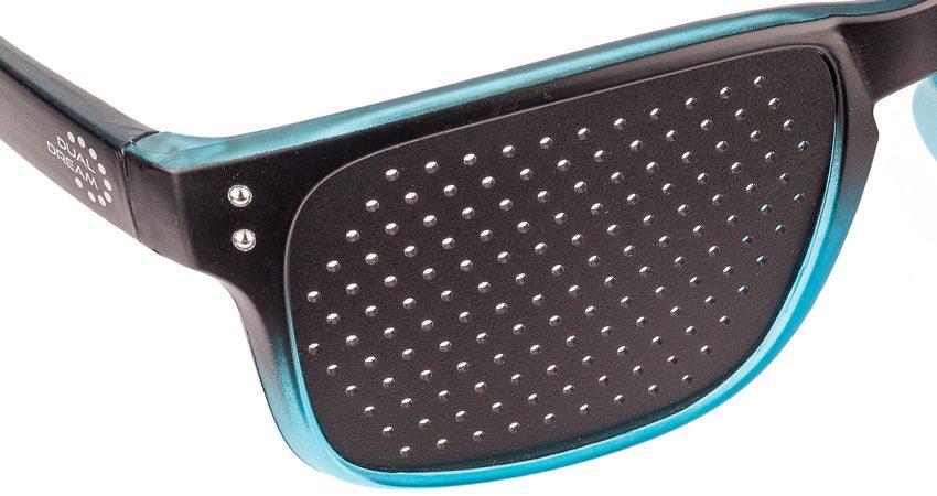 Occhiali stenopeici Modern Black in Blue DUAL DREAM Occhiali metodo Batesparticolare