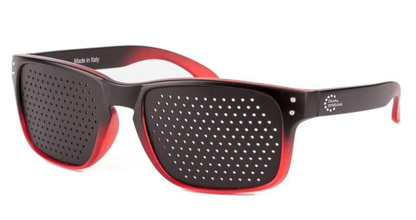 Occhiali stenopeici Modern Black in Red DUAL DREAM